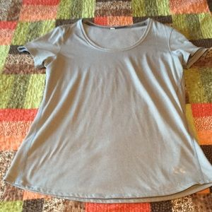 Under armour xrun tshirt gray and white striped